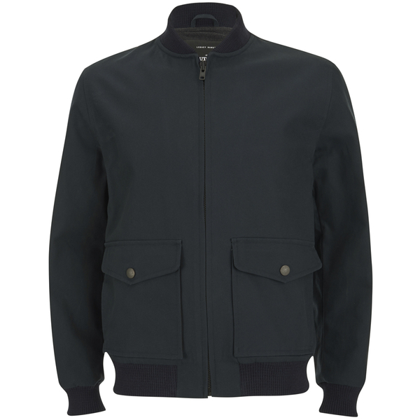 Knutsford Men's 'Made in England' Cotton Zip-Through Bomber Jacket - Navy