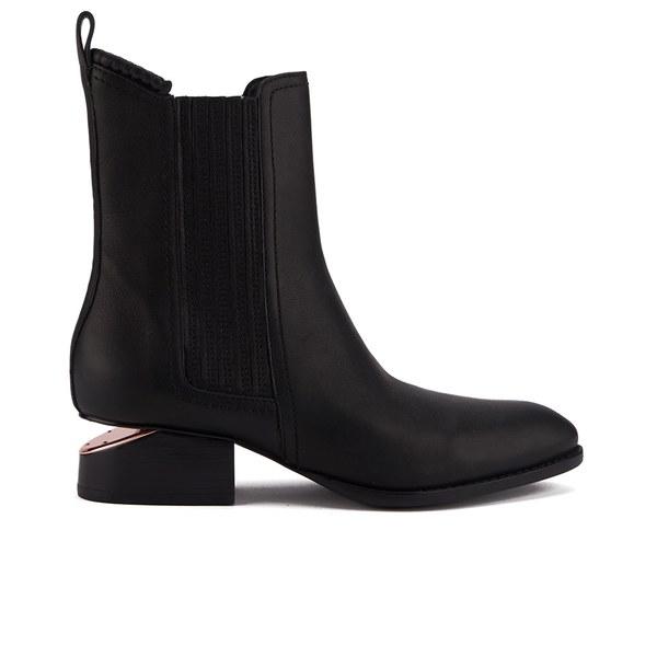 Alexander Wang Women's Anouck Leather Rose Gold Details Chelsea Boots - Black