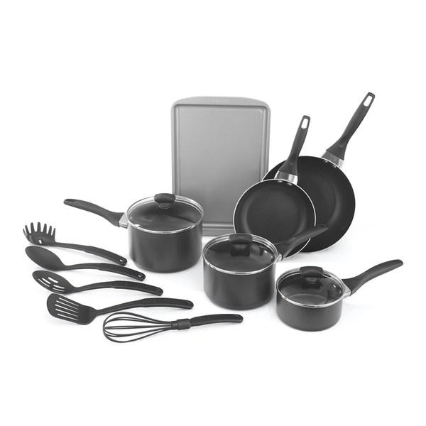 Prestige 11 piece non stick aluminium cookware set for Kitchen set non stick