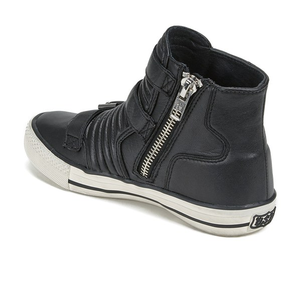 Ash Women's Volt Buckle Ribbed Leather High Top Trainers - Black: Image 5