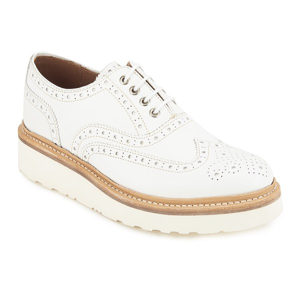 Grenson Women's Emily Leather Brogues - White Calf | FREE ...