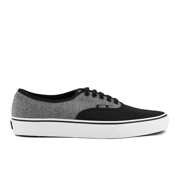 vans pewter black authentic with jeans and t-shirt