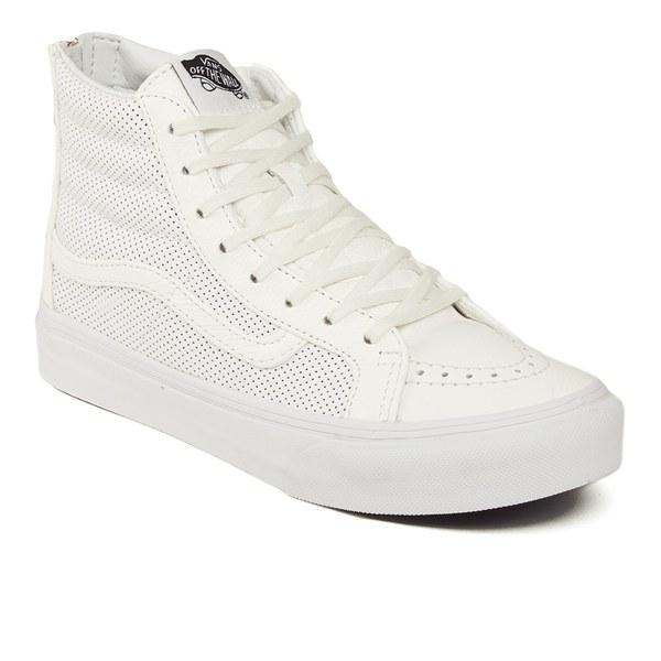 65820e8703 Vans Women s SK8-Hi Slim Zip Perforated Leather Hi-Top Trainers - True White