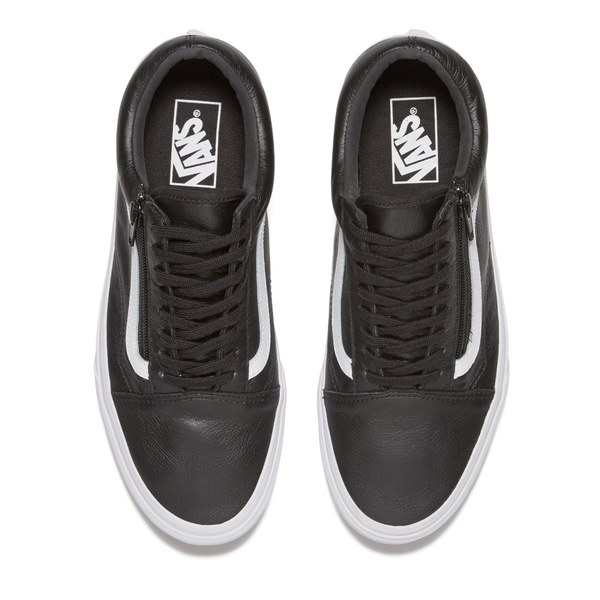 vans old skool leather trainers black mono
