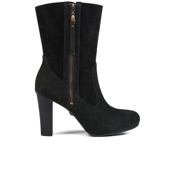 UGG Women's Athena Fold Over Heeled Ankle Boots - Black