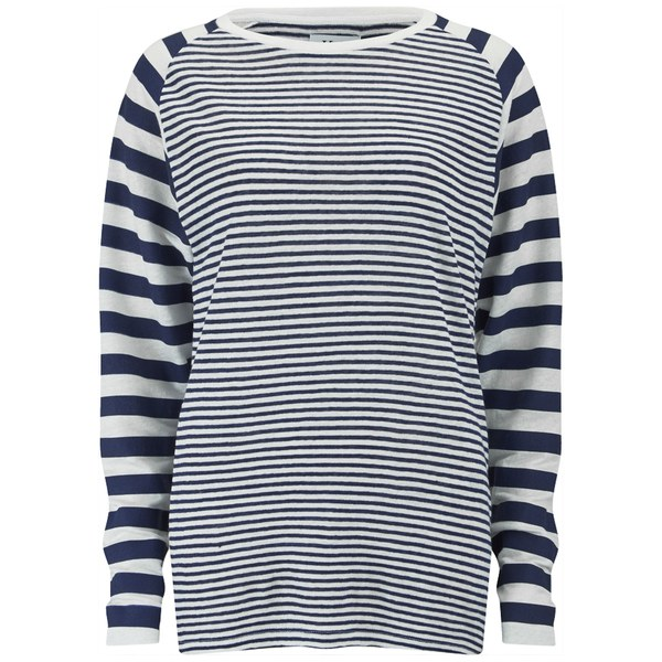 Zoe Karssen Women's Linen Stripe T-Shirt - White
