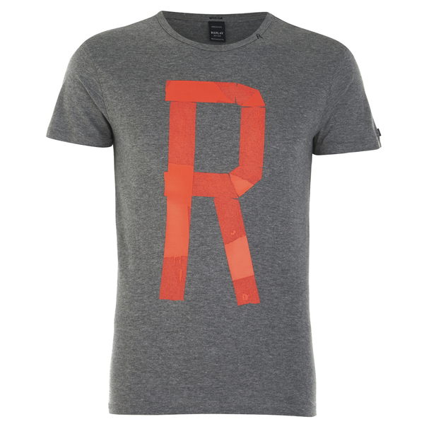 dc3f5703469 REPLAY Men s Printed R Logo Crew Neck T-Shirt - Medium Grey Melange  Image