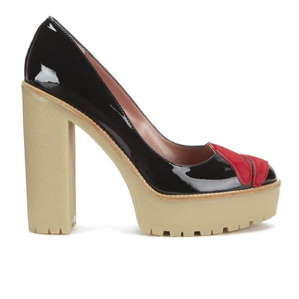 REDValentino Women's Lips Front Platform Heels - Black