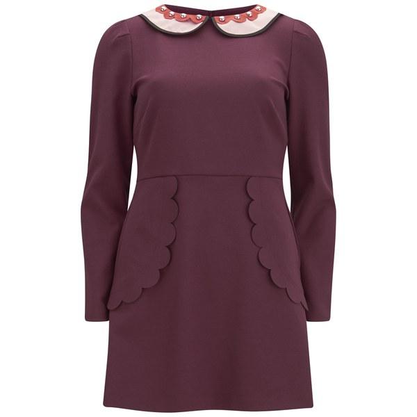 REDValentino Women's Shirt Scalloped Edge Dress - Red