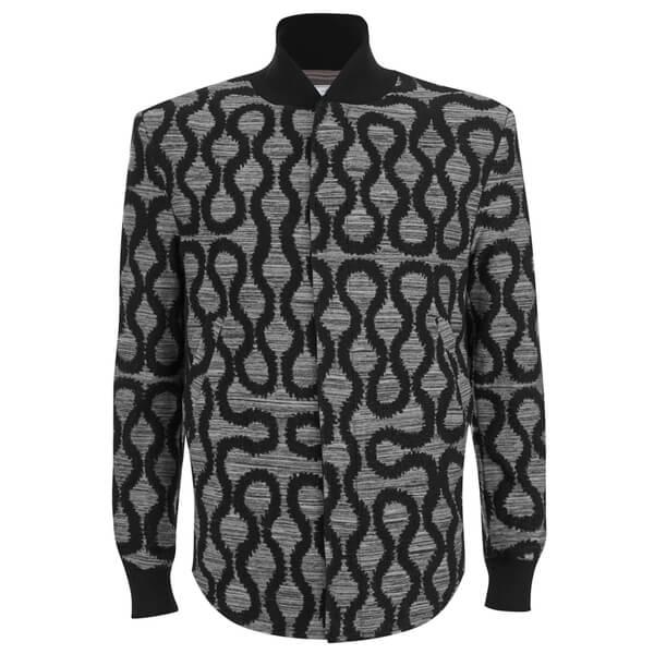 Vivienne Westwood MAN Men's Squiggle Spugna Shirt-Hem Bomber Jacket - Grey Spugna
