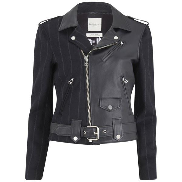 Each X Other Women's Robert Montgomery Wool Pinstripe and Leather Biker Jacket - Dark Navy/Black