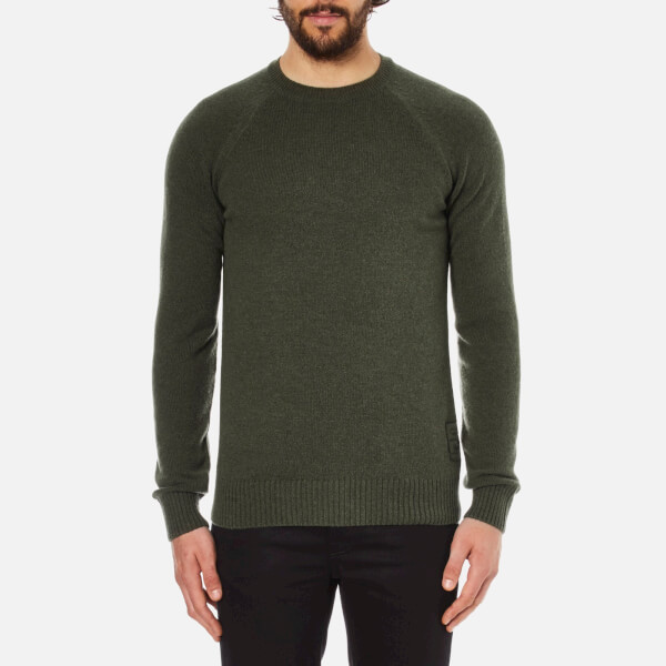 Barbour Heritage Men's Staple Crew Knitted Jumper - Olive