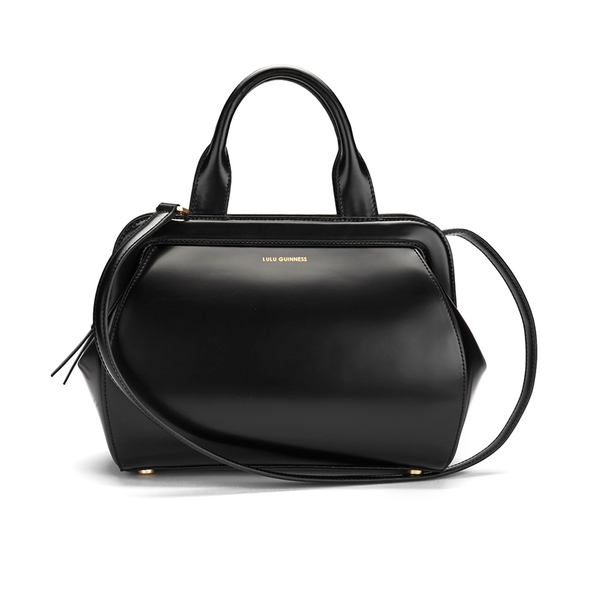 Lulu Guinness Women's Paula Mid Polished Calf Leather Tote Bag - Black