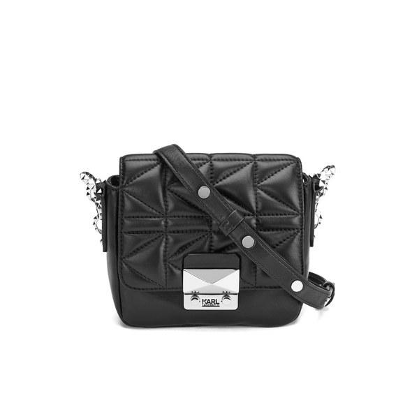 Karl Lagerfeld Womens Kkuilted Cross Body Bag Black