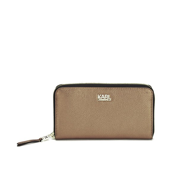 Karl Lagerfeld Women's K/Grainy Zip Around Wallet - Brown Metallic