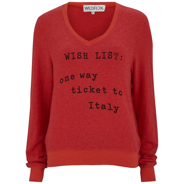 Wildfox Women's Italian Wishlist Baggy Beach V Neck Jumper - Marinara