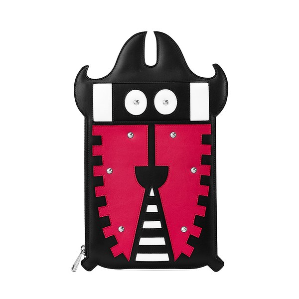 Aspinal of London Oversized Essential Bug Pouch - Deep Fuchsia/Black