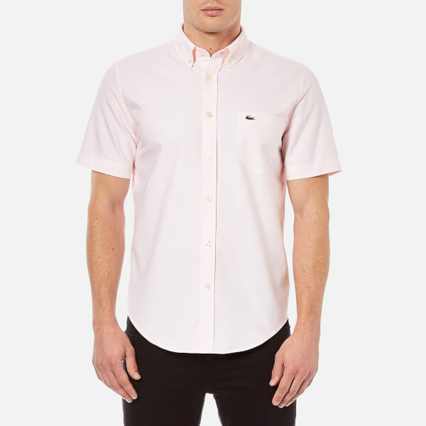 Lacoste Men's Oxford Short Sleeve Shirt - Nymph/White