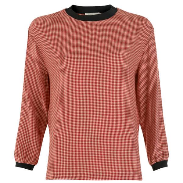 Maison Kitsuné Women's Woolly Check Voile Long Sleeve Top - Red