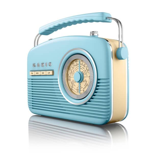 Akai Retro 50s FM/AM Radio - Blue Electronics