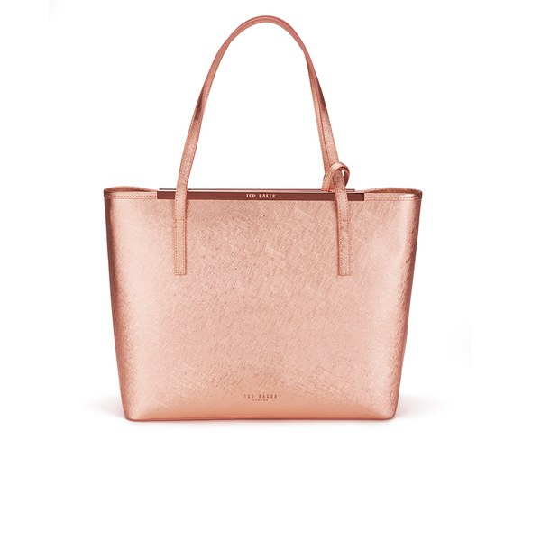 fc2bee7eb37d Ted Baker Women s Jasmena Crosshatch Shopper Bag with Embellished Clutch - Rose  Gold  Image 1