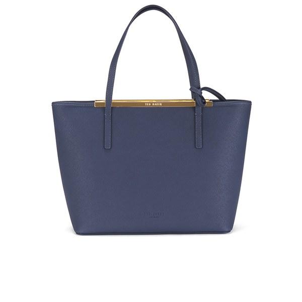 ea2986a40 Ted Baker Women s Noelle Printed Lining Crosshatch Shopper Bag - Dark Blue   Image 1