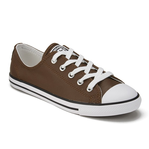 0a563f59a05813 Converse Women s Chuck Taylor All Star Dainty Seasonal Leather Ox Trainers  - Chocolate White