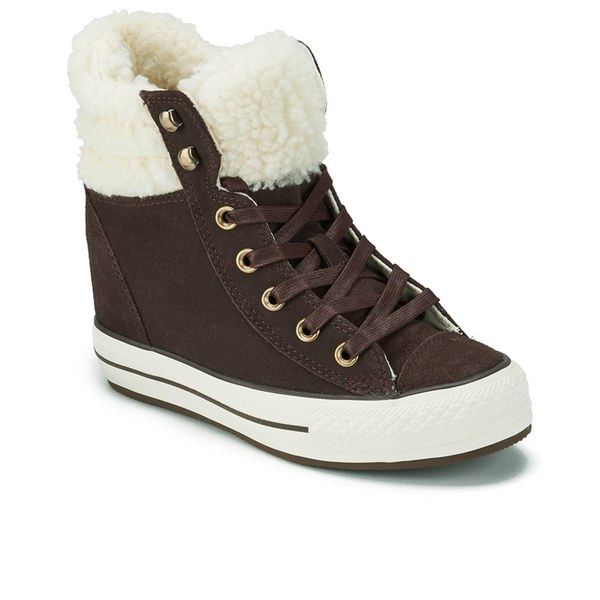 cacab532b1f0 Converse Women s Chuck Taylor Platform Plus Collar Wedged Trainers - Burnt  Umber Natural  Image