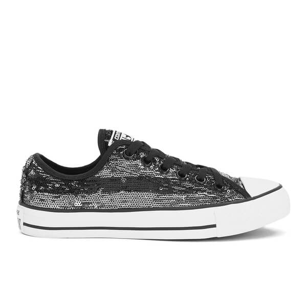 8d594791d2f65a Converse Women s Chuck Taylor All Star Sequin Flag Ox Trainers -  Black Silver White