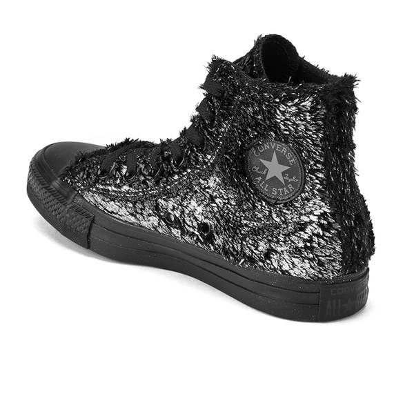 5f16af3d95bd Converse Women s Chuck Taylor All Star Sparkle Fur Hi-Top Trainers - Silver  Black