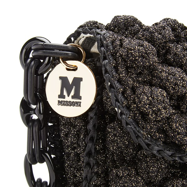 286931ddd2cc M Missoni Women s Raffia Shoulder Bag - Black  Image 3