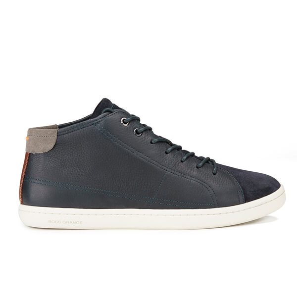BOSS Orange Men's Soundmid Leather Hi-Top Trainers - Dark Blue