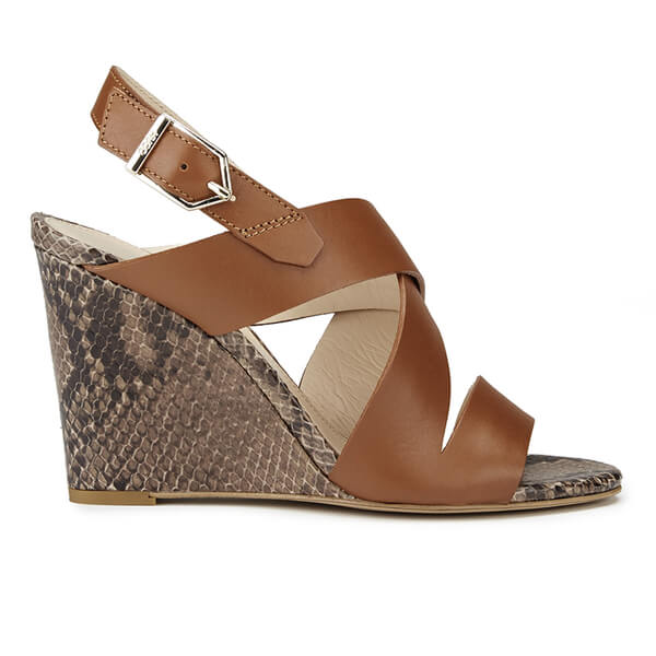 HUGO Women's Vertic Snake Print Leather Wedged Sandals - Light/Pastel Brown