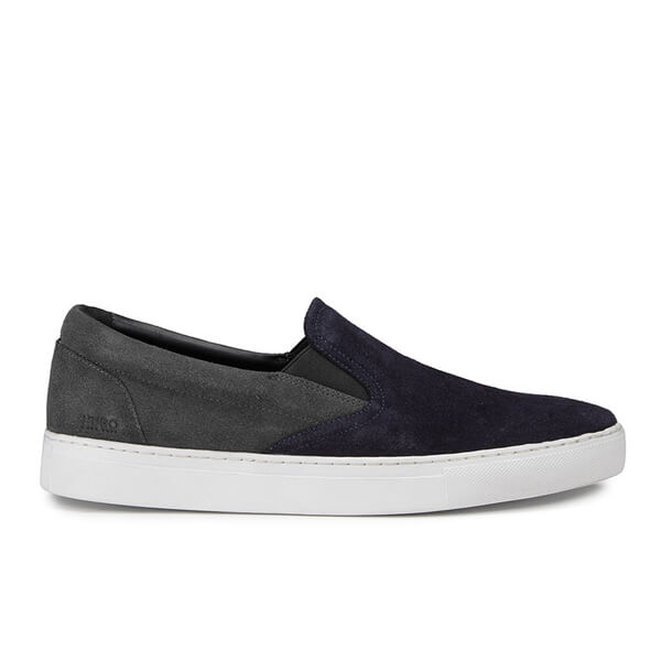 HUGO Men's Caslip Slip On Leather Trainers - Dark Blue