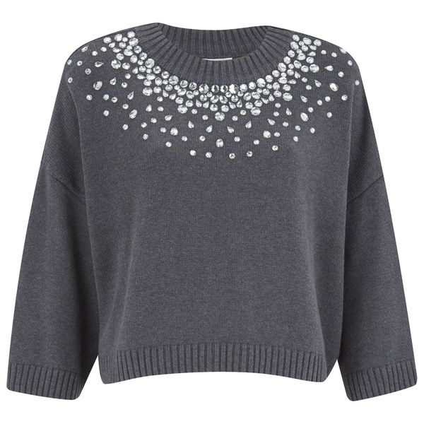 MICHAEL MICHAEL KORS Women's Embellished Neck Cropped Sweatshirt - Grey