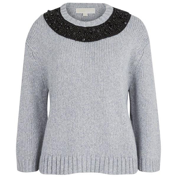MICHAEL MICHAEL KORS Women's Beaded Neck Boxy Sweatshirt - Pearl Heather