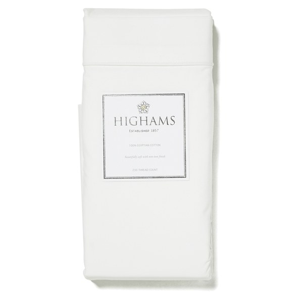 Highams 100% Egyptian Cotton Plain Dyed Flat Sheet - Cream