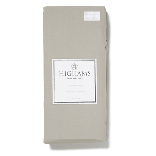 Highams 100% Egyptian Cotton Plain Dyed Deep Fitted Sheet - Brown
