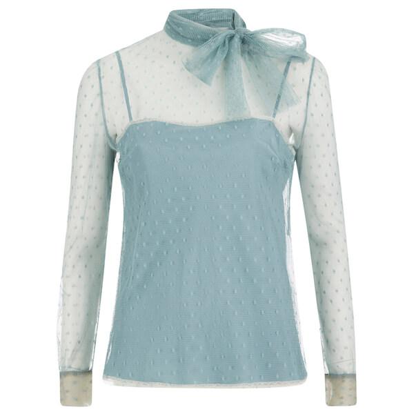 REDValentino Women's Lace Tie Neck Blouse - Celeste