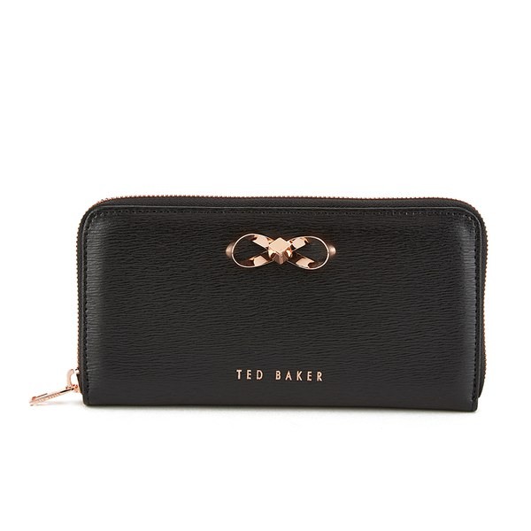 Ted Baker Women S Freesia Crosshatch Metal Bow Zip Around Matinee Purse Black Image 1