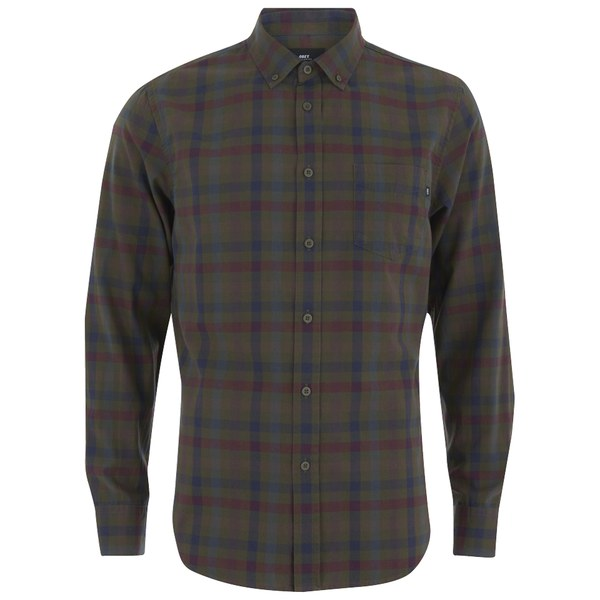 OBEY Clothing Men's Jensen Woven Long Sleeve Plaid Shirt - Army Multi