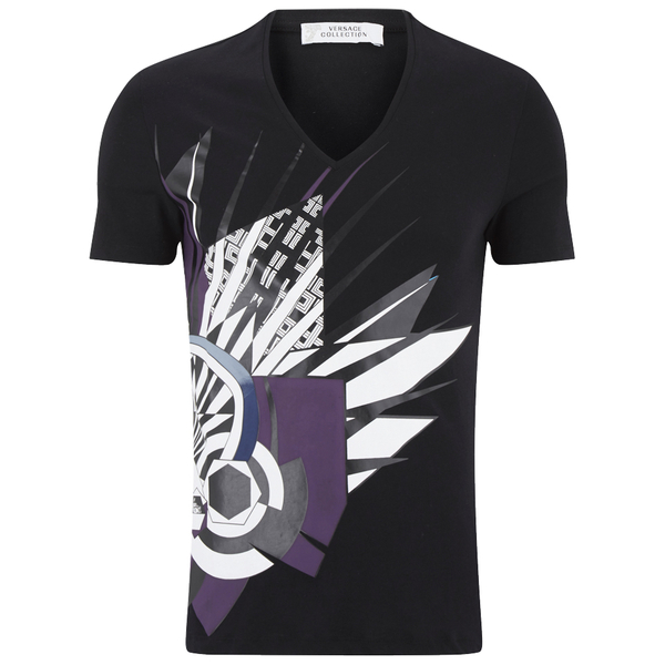 Versace Collection Men's V Neck Print T-Shirt - Black