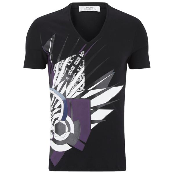 Versace Collection Men's V Neck Print T-Shirt - Black