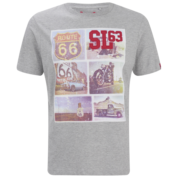 Salvage Men's Route 66 T-Shirt - Light Grey Marl