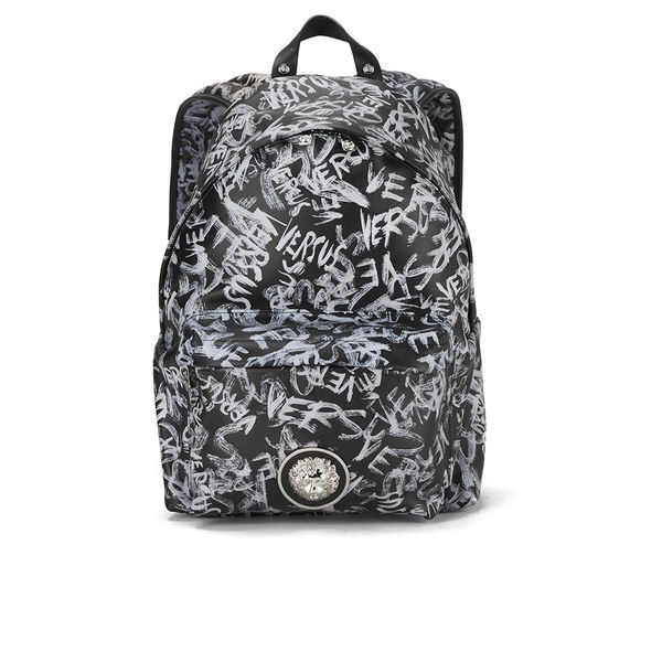 Versus Versace Men s Graffiti Leather Backpack - Black  Image 1 f3ac0aee874f5