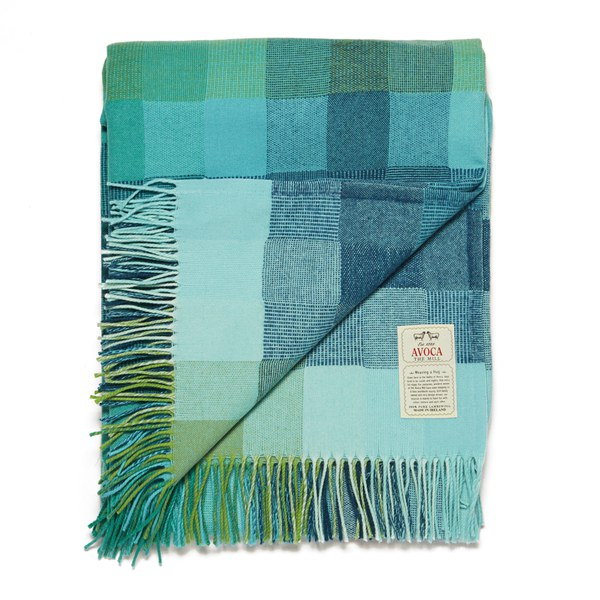 Avoca Spectrum Lambswool Throw - Aqua (142cm x 100cm)