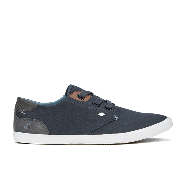 Boxfresh Men's Stern Waxed Canvas Low Top Trainers - Navy/White