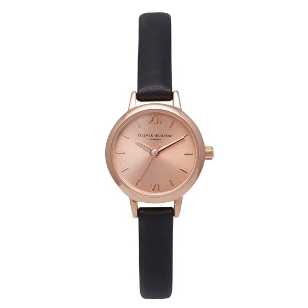 Olivia Burton Women's Mini Dial Watch - Black/Rose Gold