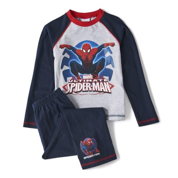 Marvel Spider-man Boy's Long Sleeve Pyjamas - Navy/Grey