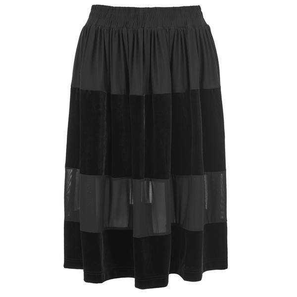Ganni Women's Sheer Panel Skirt - Black